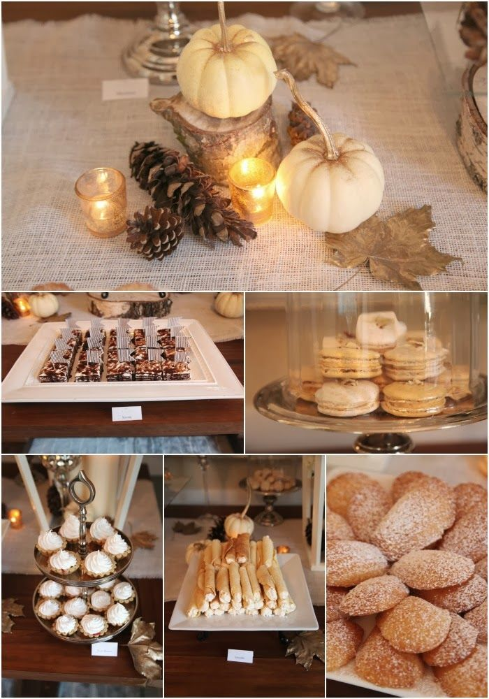 love the little white pumpkins with pine cone centerpieces