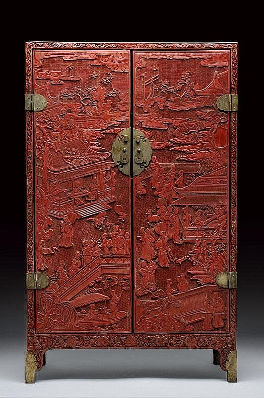 A Rare And Important Red Lacquered Cabinet, China , Ming Dynasty 16th  Century.