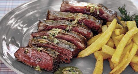 Receta de Entraña de ternera a la barbacoa con chimi-torres y patatas fritas    - APTC Supermercado El Corte Inglés