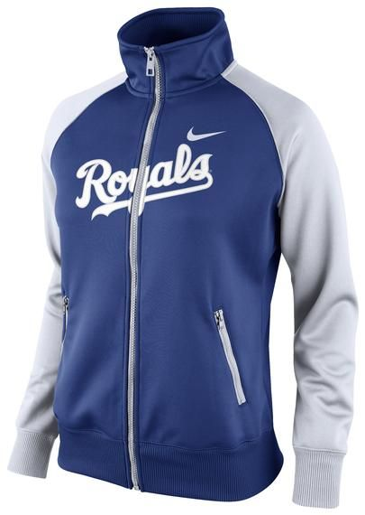 Kansas City Royals Womens Nike Track Jacket - Royals Womens Royal Blue/White Logo Long Sleeve Track Jacket http://www.rallyhouse.com/shop/kansas-city-royals-nike-125191071 $70.00