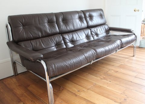Vintage Leather Pieff Sofa 1960 S Brown Leather Chrome