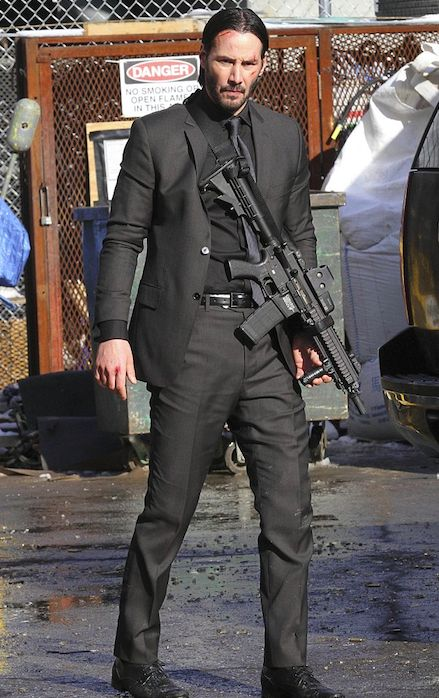 Keanu Reeves on the set of 'John Wick'.  Oooohhh, this i gotta see.