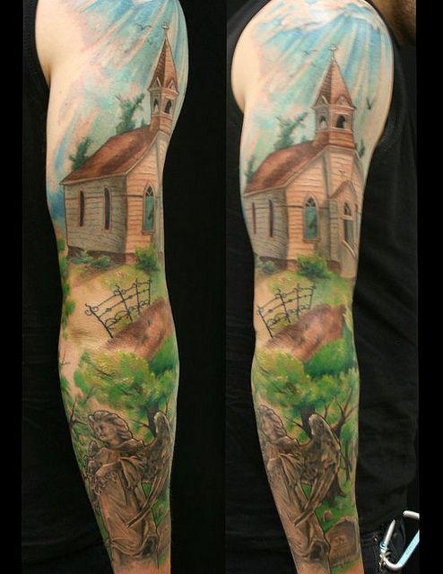 Christian tattoos   Church cemetery angel christian sleeve tattoo by Jackie Rabbit ...