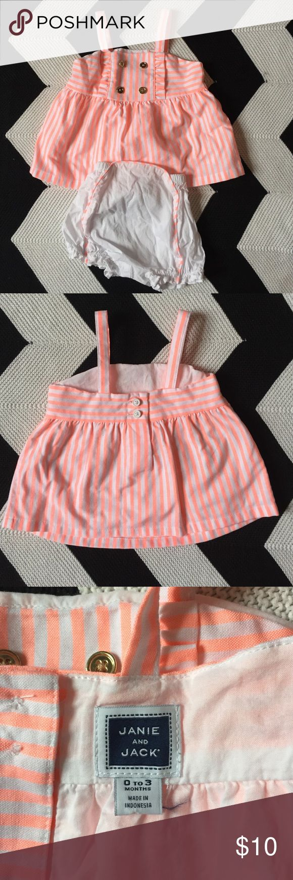 Janie and Jack Sailor Outfit Top and matching bloomers. Neon orange stripes with gold buttons. EUC 0-3 months. Janie and Jack Matching Sets
