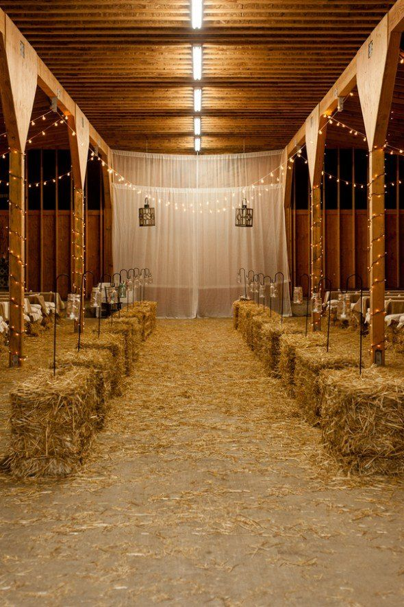 Would love it if for the corner we will decorate for the ceromony if we lined chairs on both sides and had the hay lining the aisle.