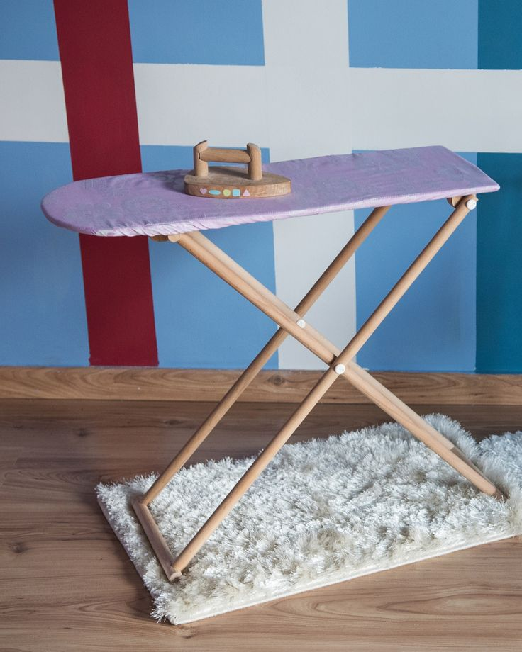 Kids ironing board and padded board cover. Kids' eco-friendly wooden iron.