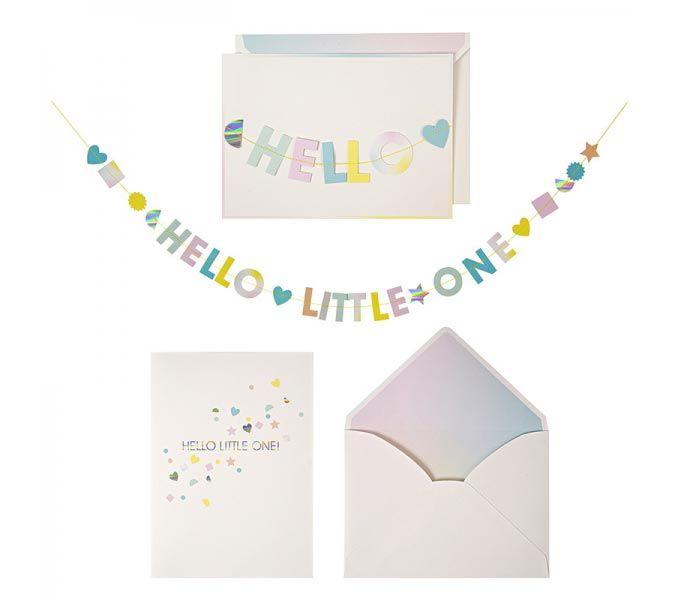 Kaart - Hello little one. Geboortekaart die omgetoverd kan worden tot slinger. www.Millows.nl