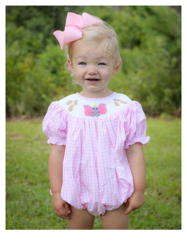 23f27664cf1db Dumbo Inspired Smocked Children s Boutique Style bubble. Fisch and Bry  Girls Smocked clothing.