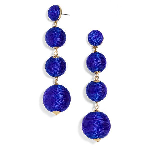 BaubleBar Criselda Ball Drop Earrings-Cobalt Blue ($58) ❤ liked on Polyvore featuring jewelry, earrings, fishhook earrings, baublebar jewelry, fish hook earrings, drop earrings and earring jewelry