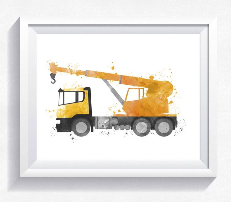 Watercolor crane truck print, crane truck printable, construction wall art, construction print, construction printable, boy room wall art by HappyLittleFrog on Etsy