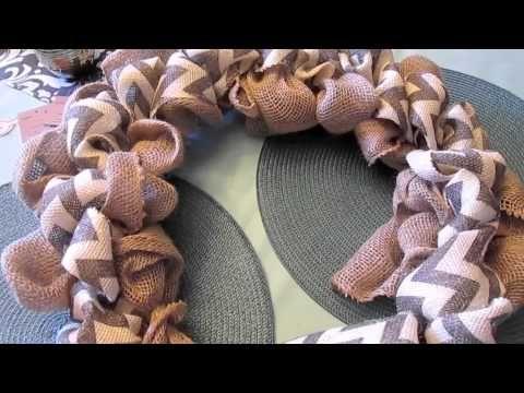 ▶ Two Tone Burlap Chevron Wreath! DIY Craft! - YouTube