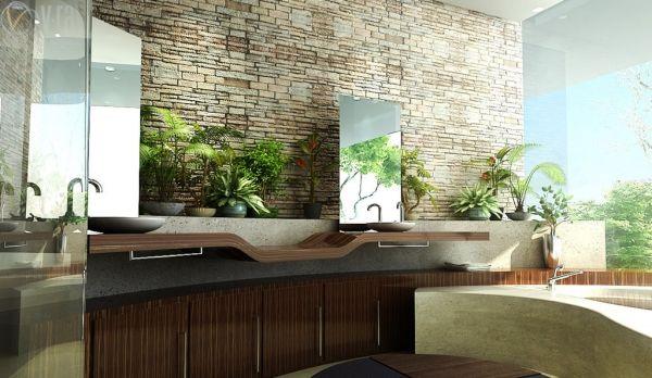 Badezimmer design freistehende waschbecken pflanzen töpfe ...
