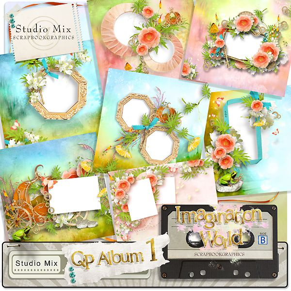 """Imagination World - QP Album 01""  http://shop.scrapbookgraphics.com/Studio-Mix-50-Imagination-World-QP1.html"