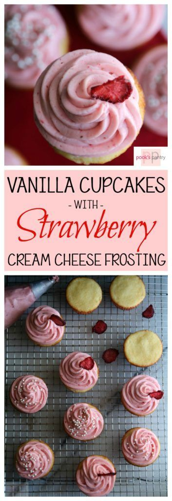 Vanilla Cupcakes with Strawberry Cream Cheese Frosting | Pook's PantryFacebookGoogle+InstagramPinterestTwitter