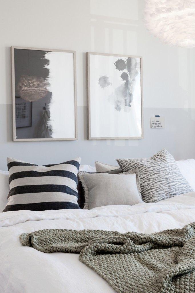 Bäddning, sovrum, master bedroom, Fjäderlampa, Eos, HM Home, Afroart, granit , inredning, jm, visningslägenhet