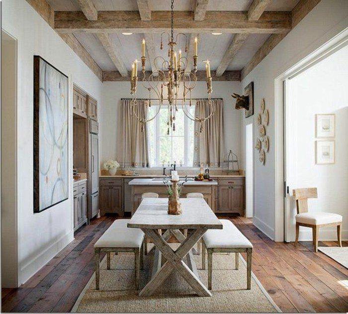 aménager une chambre en longueur style retro vintage, meubles en bois massif