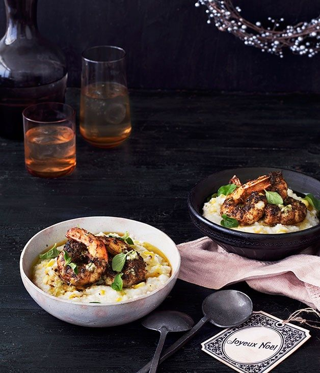 Grilled-Corn Grits with Blackened Prawns and Lime Butter