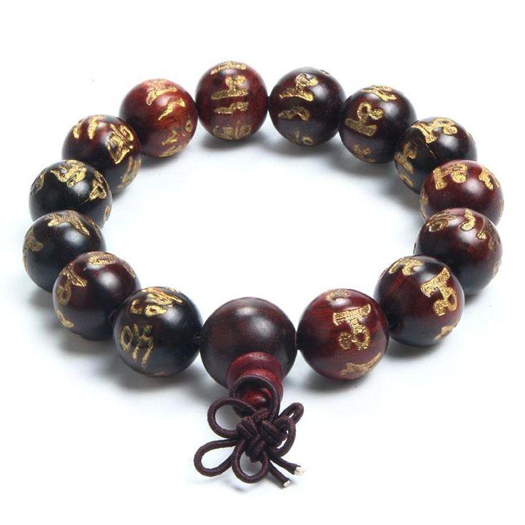 Rose Wood Engraved Buddhist Prayer Beads Bracelet