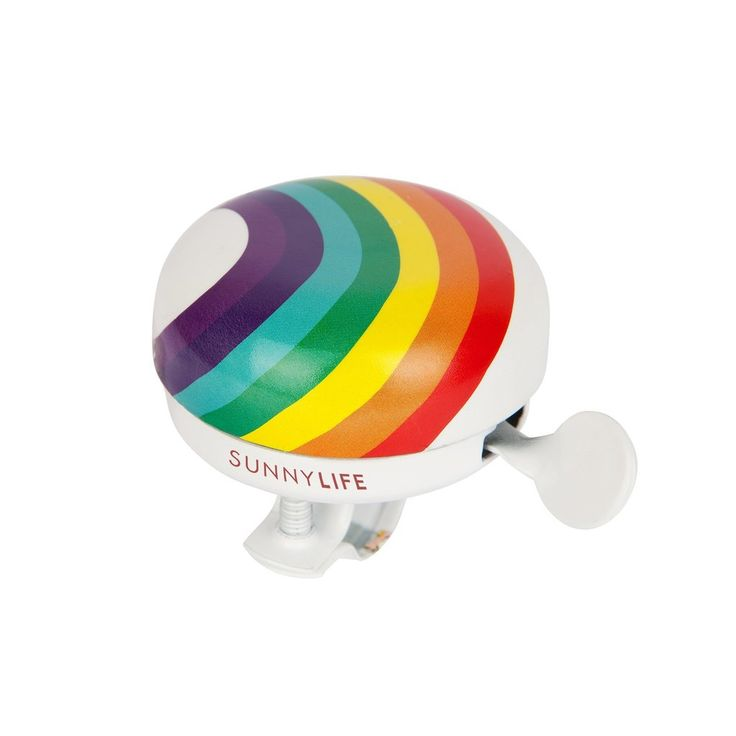 RING A DING DING This summer it's all about the kid games that grown-ups can play too. Ring a ding ding. The bigger the noise the better the adventure with the Rainbow Bike Bell.  Easy to install. Water resistant. Suitable for all bicycles. Suitable for ages 6+  Product Information 7 x 6 x 4.5 cm Material/s: Metal Packaged 6 x 6 x 6 cm Weight 0.1 Kgs