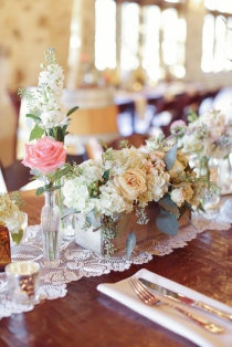 Style Me Pretty | Gallery neutral toned flowers with blush accents in wooden box vase