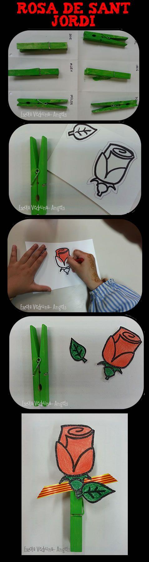 Rosa de Sant Jordi realitzada pels alumnes d'educació infantil de l'escola Vedruna-Àngels de Barcelona. MATERIAL: pinza de fusta,pintura verda,plantilla amb dibuix de la rosa i la fulla i cinta. Escola Vedruna-Àngels (Barcelona)