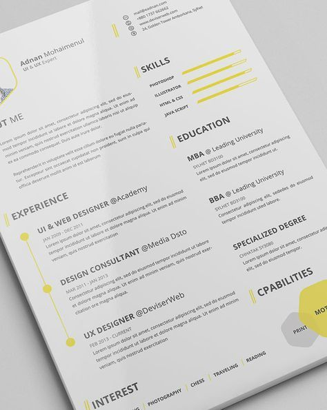 A résumé acts as your first impression on a potential employer: this beautifully designed one is a good first impression to make.