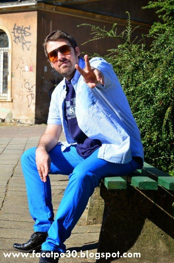 Summer style. Photo by @stylowa www.foto-inspiracja.pl, trousers: H&M, shirt: F&F, t-shirt: Delta Pro Weight, Shoes: Deichmann, watch: Sharp