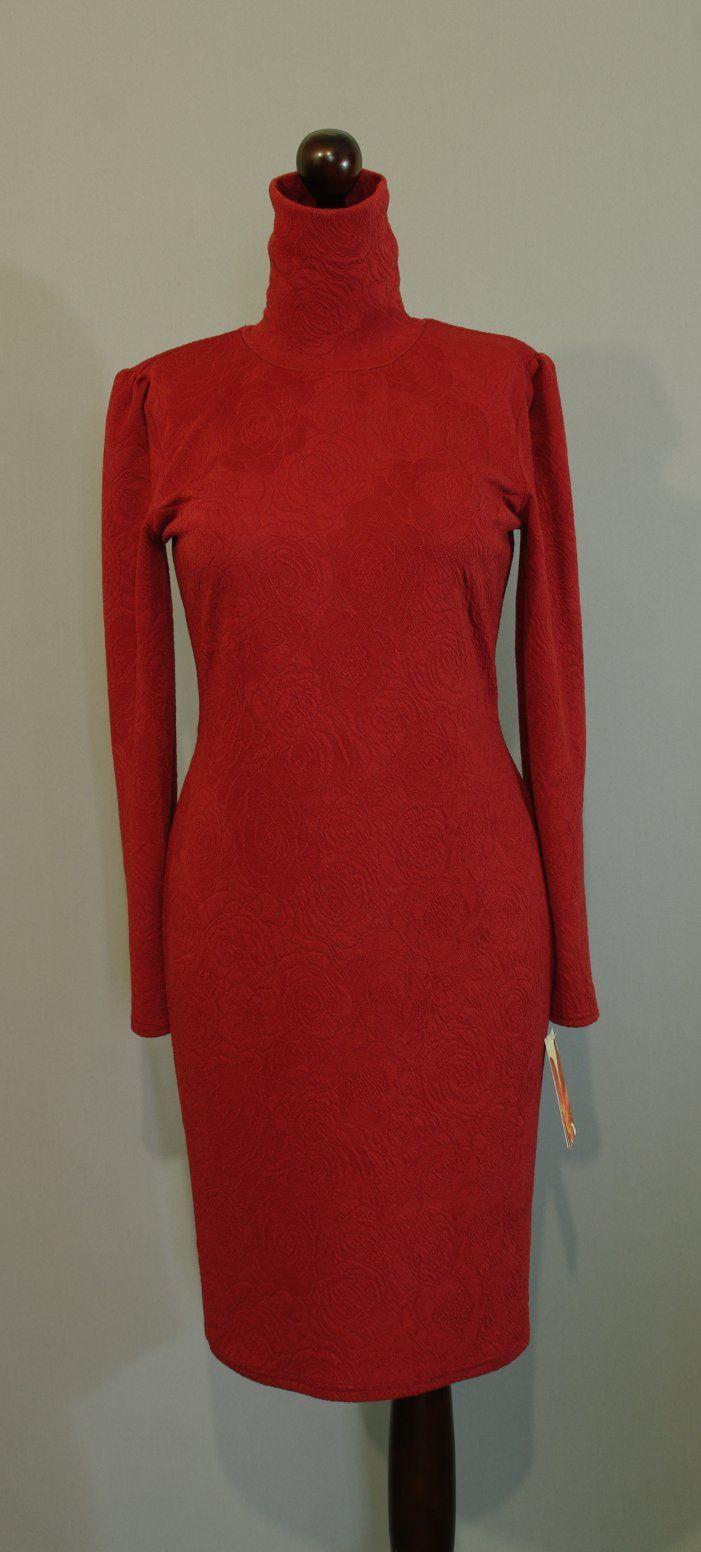 Теплое платье-карандаш с высоким воротом (высоким горлом), платье оттенка корица, Платье-терапия