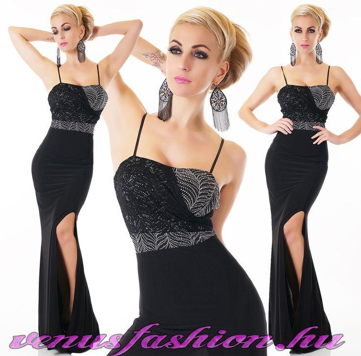 Elegáns fekete felvágott női hosszú ruha ezüst díszítéssel - Venus fashion női ruha webáruház
