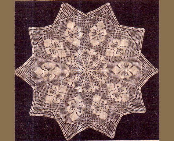 PDF Antique 'Fleur Des Lis' Doily Crochet Pattern in FILET-CROCHET a Unique 'Star-Shaped' Doily or Placemat Stunning
