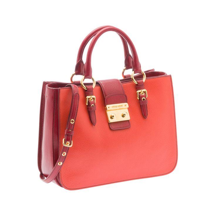 Miu Miu RN0882 2A11 F0OHK Madras Bicolore Tote – Tangerine / Ruby Red