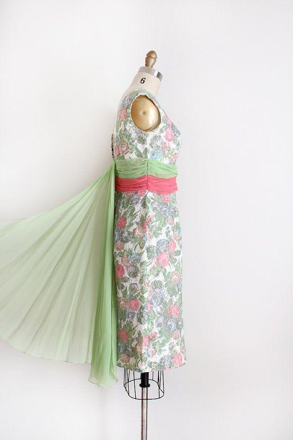 vintage 1950s dress // 50s 60s floral cocktail dress by TrunkofDresses