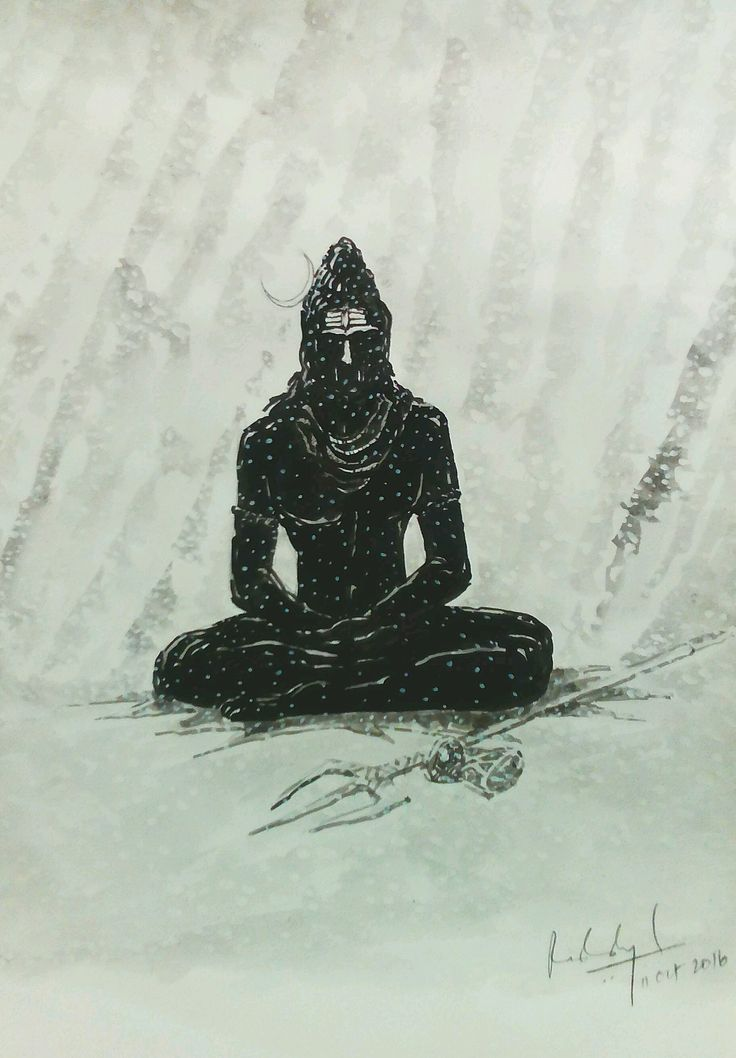 LORD SHIVA SEATED SNOW KAILSH WATER COLOUR INK MYTHOLOGY PAINTING ILLUSTRATION
