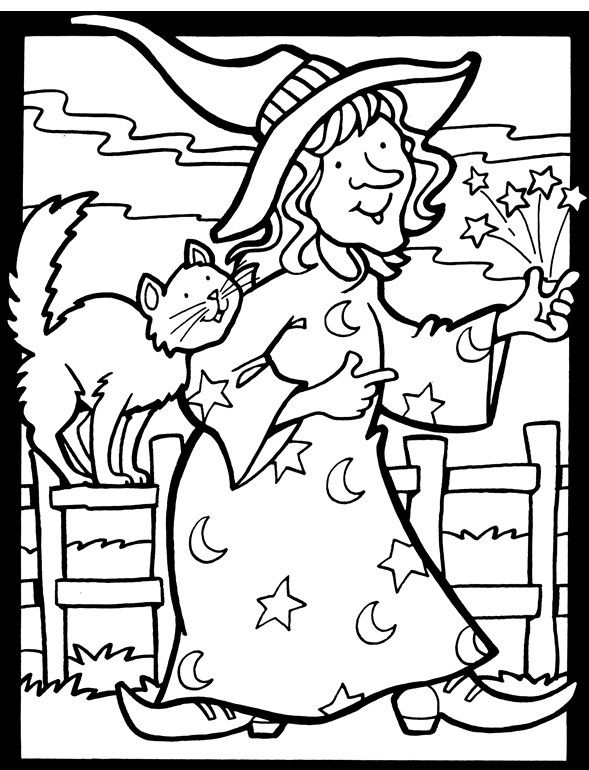 Download Witch And Cat Halloween Coloring Page Halloween