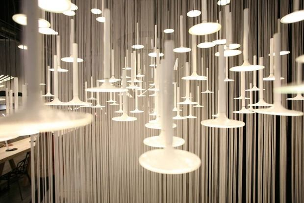 I.Rain is a modular lighting system wherein each component hangs from the wall shaping clouds from which light falls down like rain.