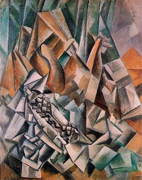 Still life with bottle of  Anis del Mono, 1909 by Pablo Picasso, Cubist Period. Analytical Cubism. still life