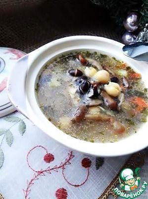 Куриный грибной суп с фасолью и нутом