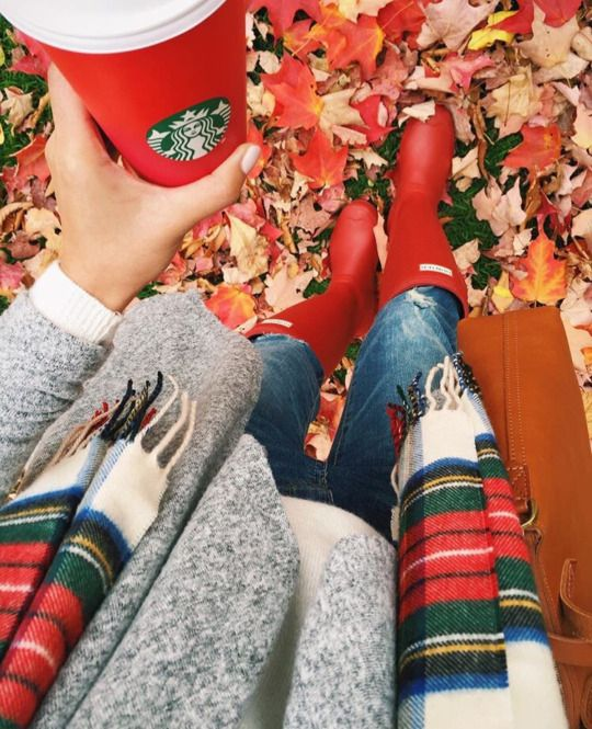 faded distressed Jeans, #Hunter red rain boots, white scarf with red and green plaid pattern, gray sweater and cognac leather purse