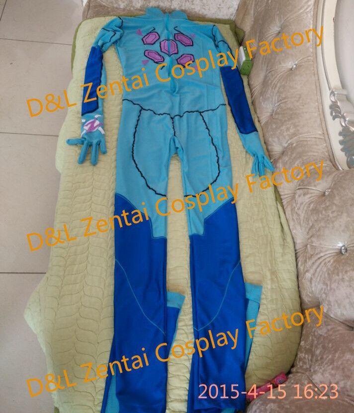 Free Shipping DHL Real Adult Superhero Costume, Sexy Zero Suit Samus Halloween Costume, Blue Lycra Bodysuit For Women Catsuit (2)