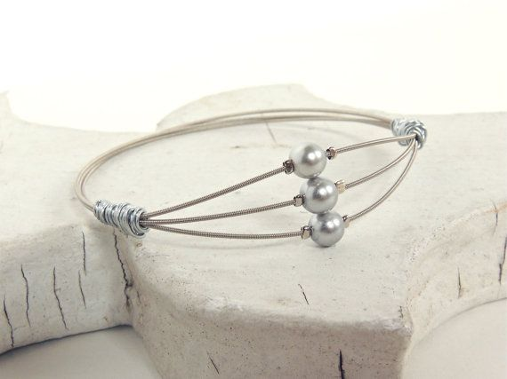 Silver GUITAR STRING BANGLE - pearl guitar string bracelet  -  Sz. Small - for teens and adults - recycled jewelry - under 30.00