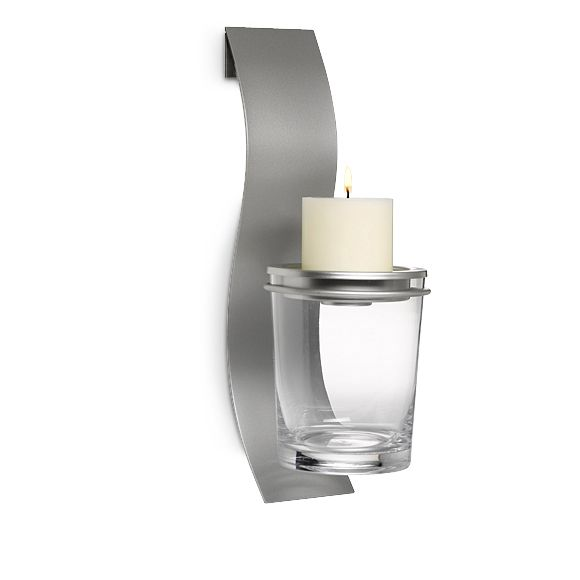 """CLEARLY CREATIVE SCONCE Item #:  P90799 Modern and sleek, our silvertone sconce features a glass vessel for an ever-changing display of your own fillers. Metal candle dish holds a round pillar candle or tealight, all sold separately. Sconce: 15¾""""h, 3½"""" w. Glass vessel: 6¼""""h. Includes hanging hardware. Regular Priced $65.00 each  SALE! $22.00 each"""
