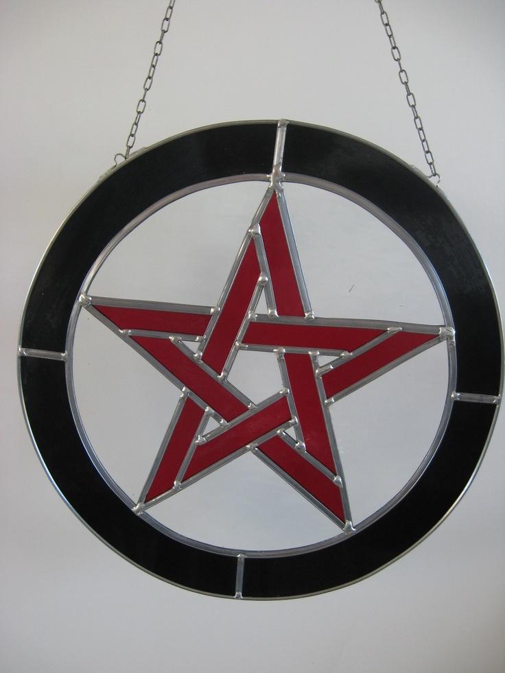 pentagram van glas in lood  handgemaakt