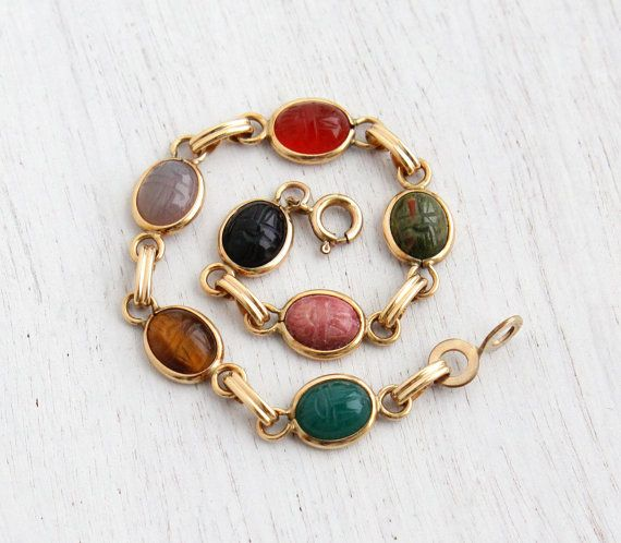 Vintage Scarab Bracelet - 14K Yellow Gold Filled Semi Precious Stone Egyptian Revival Jewelry / Tigers Eye, Chrysoprase, Carnelian, Onyx by Maejean Vintage on Etsy $44.00