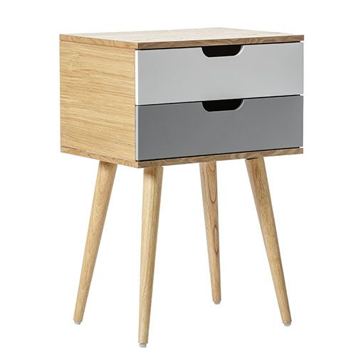 Louis 2 Drawer Side Table Pale Grey