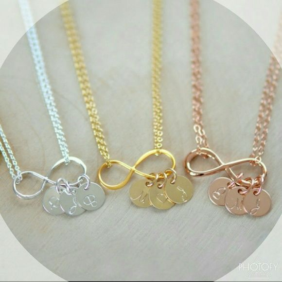 Personalized initial infinity necklace Silver dipped in gold or rose gold with 3 initials of.your choice. Could be your children and significant other, family member or your own. none Jewelry Necklaces