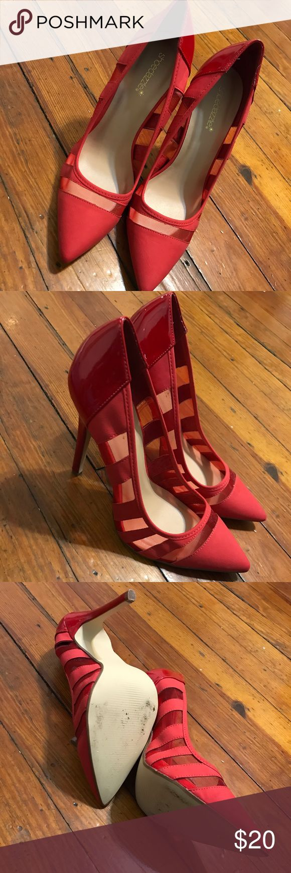 Red ShoeDazzle Pumps Like New Some Minor Wear As Shown In Pictures Shoe Dazzle Shoes Heels