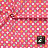 Organic Cotton Jersey Pastel Polka Dots Pink with Light Orange/ Powder pink/ Mint Green/ Natural