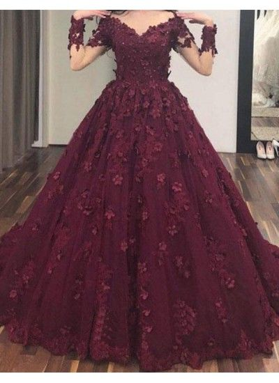 71ea75dc086a Hot Sale Luscious Prom Dress With Sleeves, Long Prom Dress, Evening Dress  With Appliques, A-Line Evening Dress