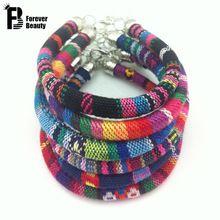 2016 della boemia handmade multicolore maglia braccialetti del nastro braccialetti fascino etnico pulseira feminina pulseras bijoux monili delle donne(China (Mainland))
