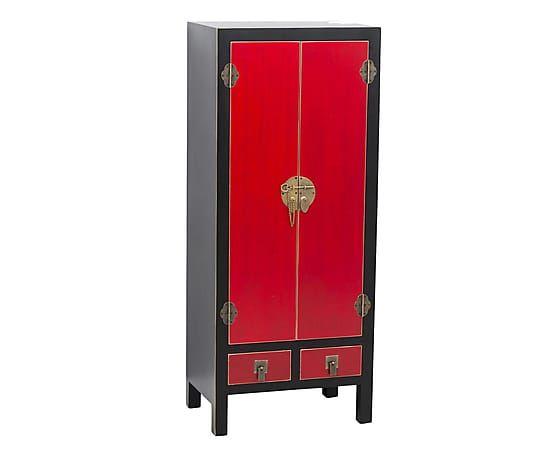 Armadio a 2 ante e 2 cassetti in legno Sepang nero e rosso, 50x121x35 cm